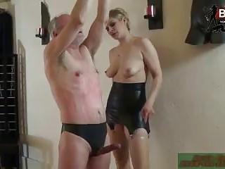 German mistress destroys her tied up mature slave BDSM porn