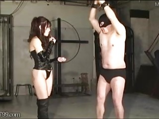 Japanese mistress whips the fuck out of her slave BDSM