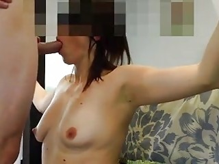 Slave slut with small tits mouth fucked by BDSM master