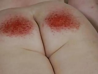 Fat ass spanked with random toys until its red BDSM