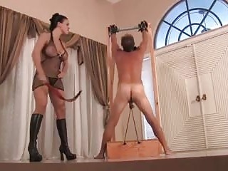 Old bastard gets cock teased by a sadistic BDSM mistress