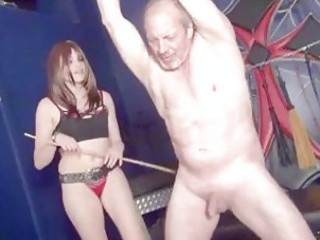 Tied up old man whipped and tortured by BDSM mistress