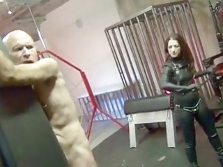 Bald pervert enjoys the pain while tied up BDSM porn