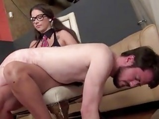 Perverted guy spanked and humiliated by BDSM mistress fetish porn