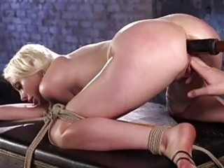 Tied up bimbo destroyed by a fuck machine BDSM porn