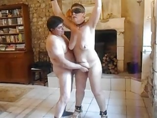 Helpless fat bitch fingered while tied up by BDSM freak