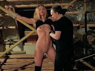 Sexy blonde bondage slave gets pussy toyed by master BDSM