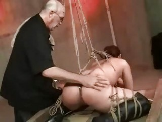 Tied up slave girl destroyed in the sex dungeon BDSM