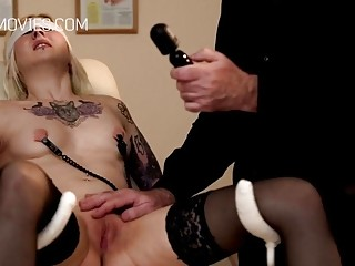 Inked girl gets her pussy and titties tortured real hard