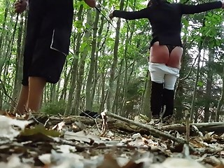 Hot babe out in the woods gets her ass whipped