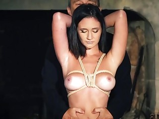Girl with small titties tied up in dungeon by geezer