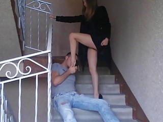 Teased on the stairs and kicked in the balls hard