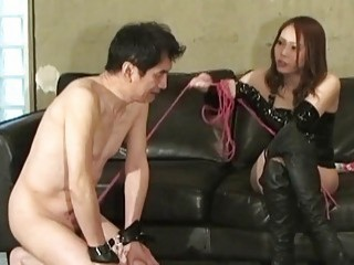 Japanese man gets his mistress to step all over him