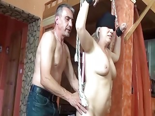 Girl with skinny pussy sucks an old dude's meat rod