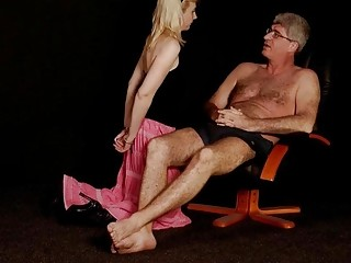 Daddy makes his submissive woman go down on her knees