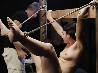 Teen is tied up and forced to suck a dick