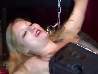 She gets tied up and drilled up her tight cunt