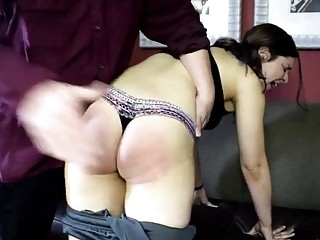 White girl with a fat ass gets spanked very hard