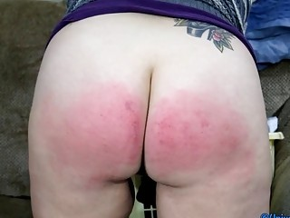 Babe gets spanked hard as fuck till her cheeks red