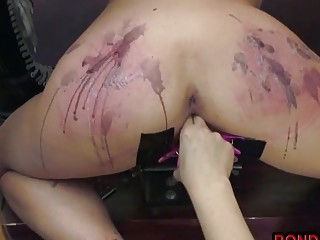 Mature woman bent over and fucked hard up her pussy