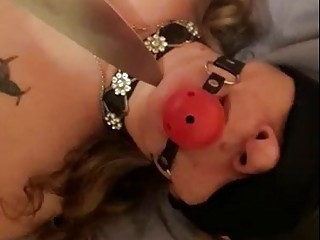 Submissive babygirl gets teased with a dude's big sharp knife