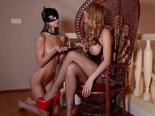Babe with huge titties gets her lesbian slave fucked hard