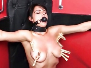 Ball-gagged chick gets her cute little titties slapped very hard