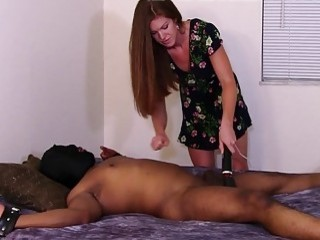 Babe gets her males big fat ball sack tortured gently