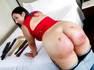 Babe with big fat ass bends over and gets spanked
