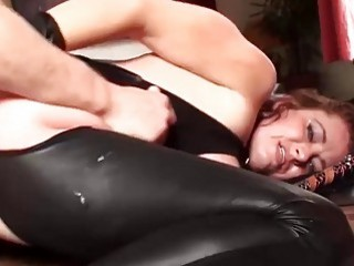 Slutty girl is tied up and fucked by mature man
