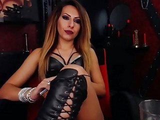 Mistress shows off her body and smokes slowly all alone