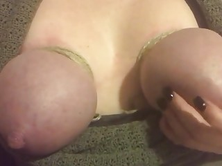 Chick's titties are tied up and slapped hard by herself