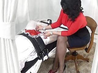 Mistress gives her submissive sissy man a hot sweaty handjob