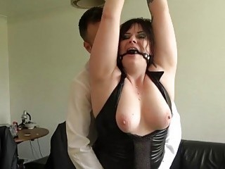 Chubby English chick is tied up and fucked by master
