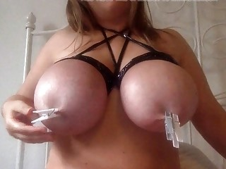 Cutie with huge titties shows off her skills on camera