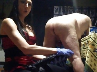 Dude is bent over and pounded hard by his mistress