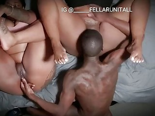 Hardcore doggystyle threesome for ebony babes and their hung boyfriend
