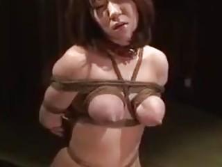 Japanese babe with big lactating tits enjoys rope bondage session