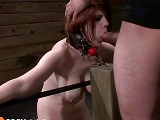 Bondage with a redhead chick getting fucked in the throat