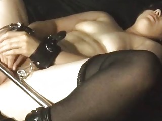 Horny busty babe in stockings loves BDSM and bondage fuck