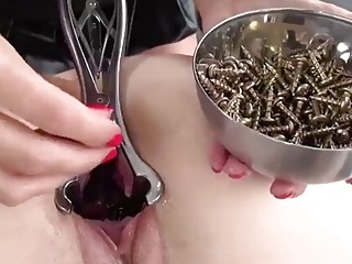Submissive girl obeys BDSM and lezdom with screws in pussy