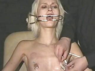 Submissive skinny girl in stockings enjoys BDSM and perverted maledom