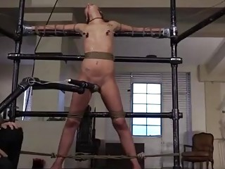 Naked tied girl obeys BDSM and vibrators on her pussy
