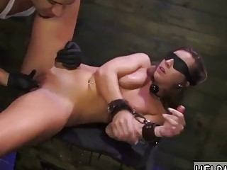 Horny naked blindfolded girl enjoys kinky BDSM and rough bondage