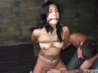 Adorable naked tattooed babe enjoys bondage and hard BDSM fuck