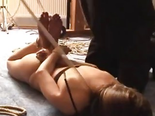 Tied up babe enjoys a slave fetish and being dominated