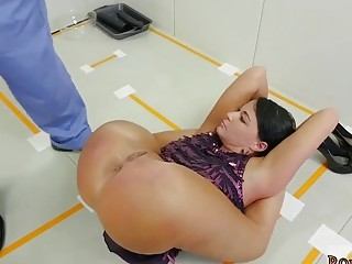 Naughty girl enjoys bondage and rough BDSM fuck from behind