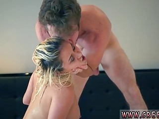 Blonde babe sucks hard cock and gets fucked really hard