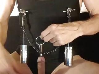 Kinky peehole fucking slut stretching nipples with weights