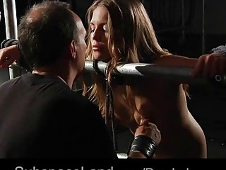 Gorgeous naked babe enjoys BDSM and bondage with her master